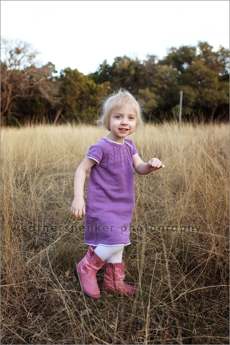 Photograph of two year old in an Austin field